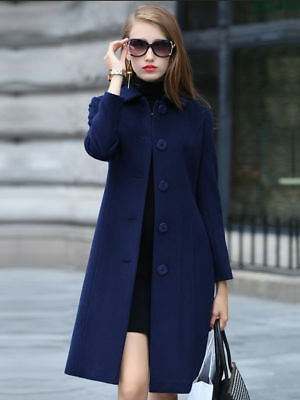 Real Cashmere Long Jacket Coat double-faced cashmere Women Vintage Winter