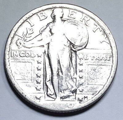 1920-P 25c US Silver Standing Liberty Quarter Dollar Antique Currency Money Coin