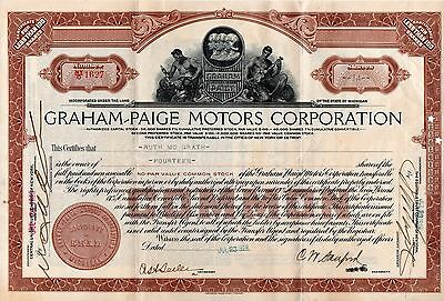 1928 Graham Paige Motors Corporation Stock Certificate, 14 Shares, NOT CANCELED