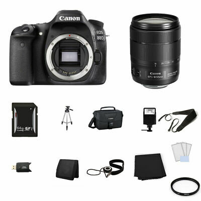 Canon EOS 80D Digital SLR Camera with 18-135mm Lens 64GB Full Kit