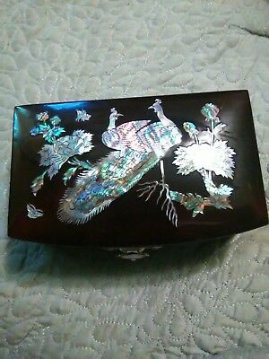 Vintage Dark Wood Inlaid Mother Of Pearl Abalone Peacock Design Jewelry Box Euc!