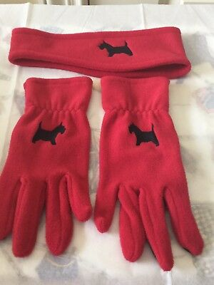 Scottish Terrier/Scotty Dog Embroidered Red Fleece Gloves and Headband Set