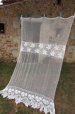 HUGE ANTIQUE FRENCH FILLET LACE & HAND SEWN CROCHET CURTAIN PANEL c1920 5ftx8ft