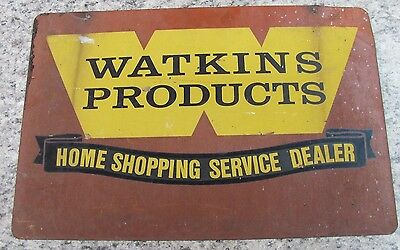 Vintage 24x16 WATKINS Double Sided Metal Sign Shopping Service DEALER Winona, MN