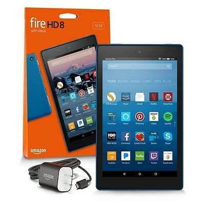 """New Amazon Fire HD 8 Tablet w/ Alexa 8"""" 16GB Blue Special Offers Quad Core 7th"""