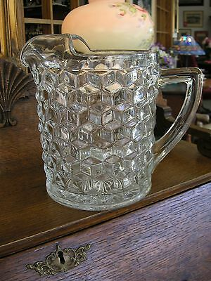 "Vintage Fostoria American Clear Ice Jug-Pitcher w/ Ice Lip 8-1/4"" THICK & HEAVY"