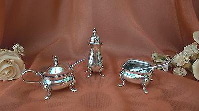Silver Plate 3 Piece Cruet Set Salt Pepper Mustard Pot Regis Plate