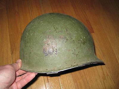 Vintage WWII US Army steel pot fixed bale helmet with liner !!!