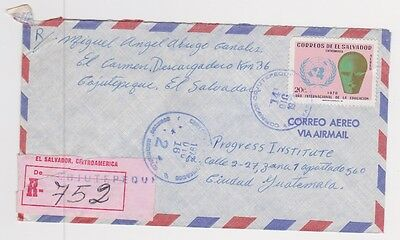 El Salvador Registered Airmail Cover from Cojuutepeque Item 2AA