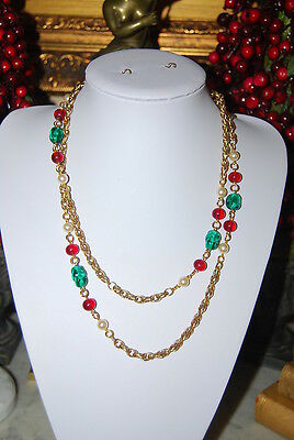 Vintage Red Green & Faux Pearls Jewels Of India Style Statement Chain Necklace