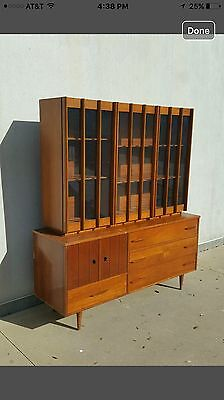 Mid Century Modern Danish 2pc Hutch Display Cabinet, Teak & Walnut