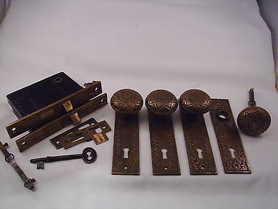 Antique Cast Bronze Door Knob TWO Sets Russell Erwin 1866  Mortise Lock #680