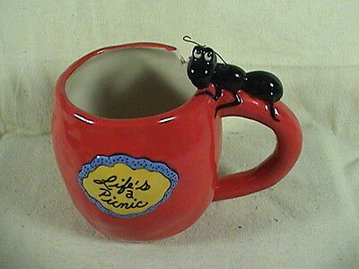 Blue Sky Clayworks Collectable Cup, Life's A Picnic Cup/Mug Apple Cup With Ant
