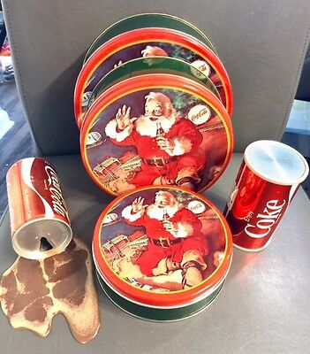 Rare Coca Cola Collectable items Radio, Set 3 tin containers, fake spilled coke