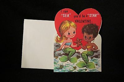 Vintage Black Americana Mermaid Valentine 1960S Mint With Envelope