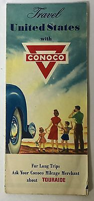 CONOCO SERVICE STATION UNITED STATES AUTOMOBILE HIGHWAY ROAD MAP 1950s VINTAGE