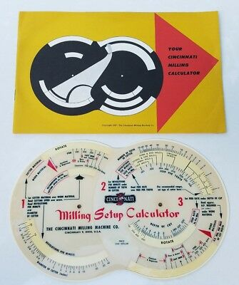 Vintage Cincinnati Milling Machine Calculator & Instruction Guide 1955