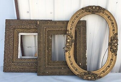 3 Vintage Ornate Wooden Picture Frames Oval Square Carved Flowers Scrolls