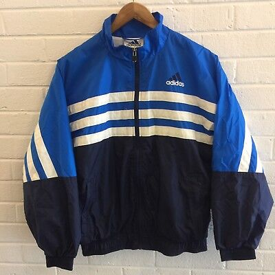 Vintage Adidas Trefoil Full Zip Track Jacket Large Blue Boys Youth Boost Yeezy