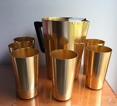 Mid Century Modern Regal Supreme Golden Aluminum Lemonade Set w/ 6 Glasses