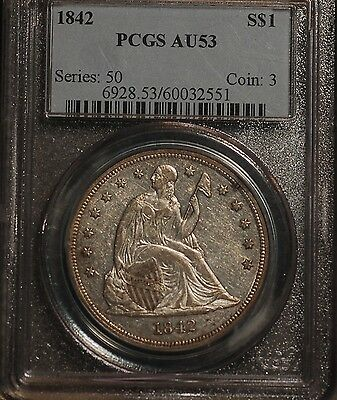 1842  Liberty Seated Dollar graded by PCGS AU53 - a better date