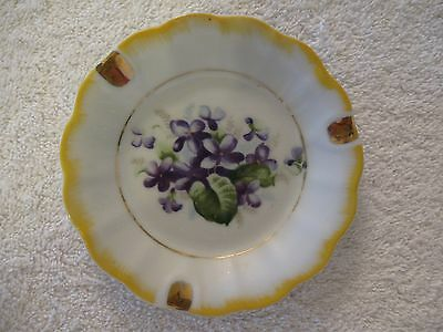 Vintage Ceramic Ashtray Painted Purple Violets Floral Yellow Gold Trim Japan