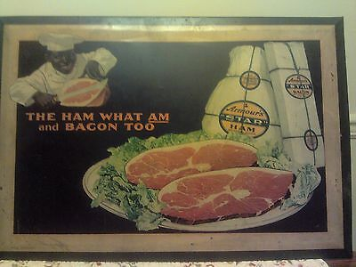 """Armour's """"Star"""" Ham Advertising Sign - 'The Ham What Am and Bacon Too' Antique"""