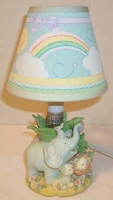 Baby's room lamp, Nursery pastel porcelain light with shade, Baby jungle animals