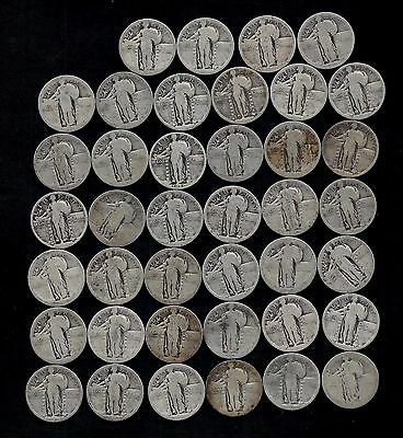 "ROLL STANDING LIBERTY QUARTERS ""WORN/DAMAGED""   90% Silver  (40 Coins)  LOT P39"
