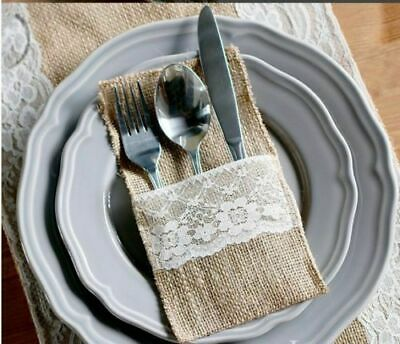 Hessian Burlap Cutlery Holder Lace Rustic Wedding Party Table BUY 5 GET 5 FREE !