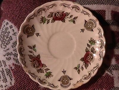 """FIVE VINTAGE MYOTT'S BOUQUET 5 1/2"""" SAUCERS MADE IN StAFFORDSHIRE ENGLAND"""