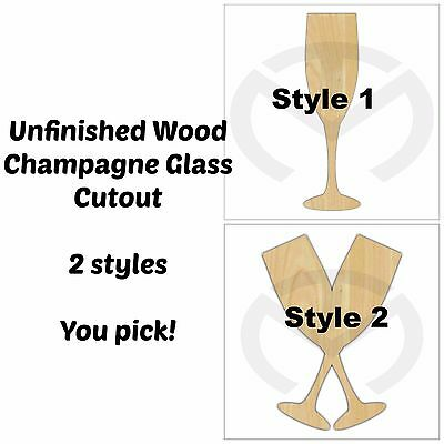 Unfinished Wood Champagne Glass Laser Cutout, Wedding, Anniversary, Paint Ready