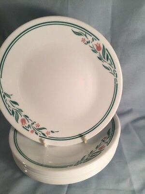 Corelle By Corning 10 Rosemarie Bread Or Dessert Plate 6 3/4 Inches Pink Tulips