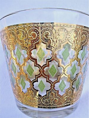 Mid Century Modern CULVER Glass Gold Encrusted & Green Ice Bucket & Glass Set
