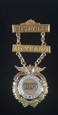 1927 METROPOLITAN LIFE INSURANCE,14kt SOLID GOLD SERVICE PIN ENAMELED WITH BARS