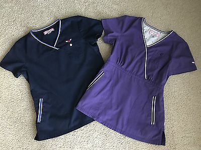 Koi by Kathy Peterson Women's Lot of 2 Scrub Tops Size XS Blue and Purple