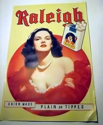 Vintage 1940's RALEIGH Cigarettes Pin-up LITHO Poster Beautiful Brunette WWII