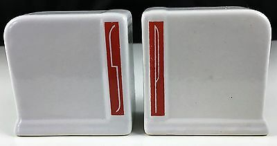 "VINTAGE Stove Top Salt Pepper Shaker Set  - Red Letters - Deco Style - 3"" high"