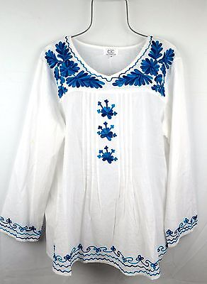 NEW Women Plus 2X Top White Blue Floral Embroidered Peasant Blouse Boho Shirt
