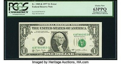 Shifted 3rd Printing Federal Reserve Error Note PCGS Choice New 63PPQ