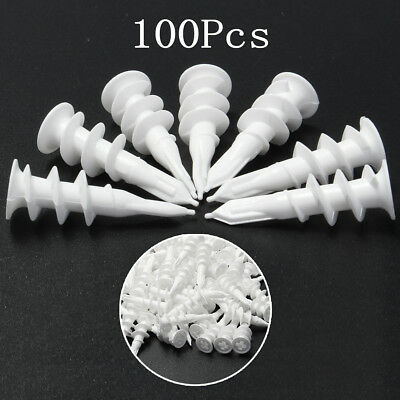100Pcs 13mmX42mm Nylon Expand Screws Wall Mate Plug Fixing Anchor Plasterboard