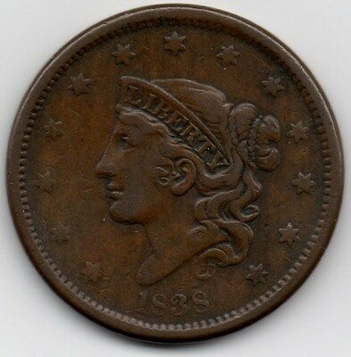 1838 Liberty Head Large Cent - Fine - Coronet - Matron - Young - #236