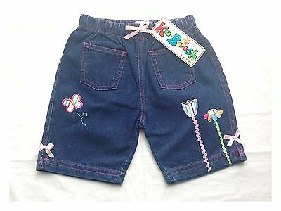 New Baby Girls Ka Boosh Summer Denim 3/4 Capri Pant Shorts - Size 0