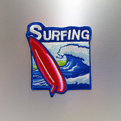 Surfing Patch — Iron On Badge Embroidered Motif — Go Surf Fun Sport Travel Wave