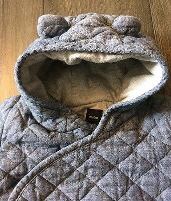 Baby Gap Unisex Outer Outfit One Piece Bear Hoodie Quilted Size 6-12M Layette