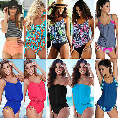 Womens Tankini Swimsuit Push-up Swimwear Monokini Beach Bathing Swimming Suit