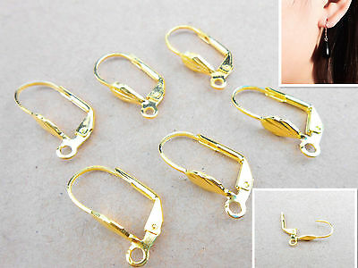20PCS Lever Back Earring Findings 18K GOLD FILL Plated Loo French Ear Clip 0085