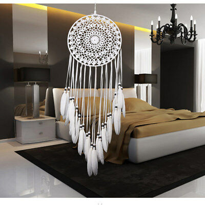 Handmade White Lace Feathers Dream Catcher Gifts Home Car Hanging Ornament Decor