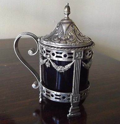 Lovely Antique Dutch Solid Silver Mustard Pot with Blue Glass Liner Circa 1906