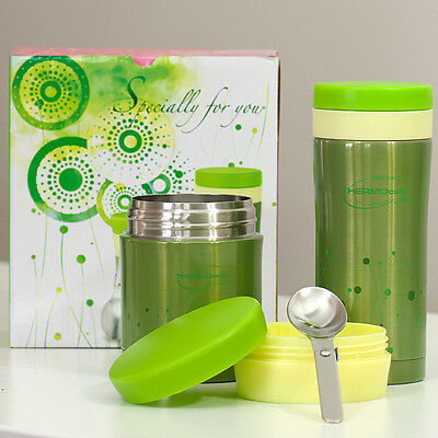 Genuine Thermos Stainless Steel bottle & Food Jar Premium Gift Set -350ml(Green)